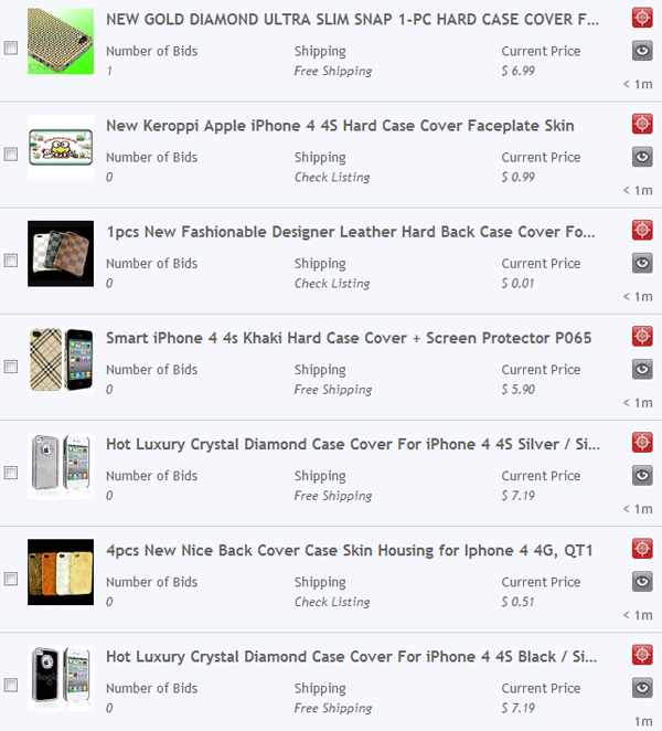 iPhone cases search results on Auction Sniper